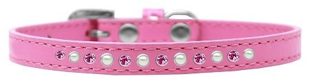 Mirage Pet Products Pearl and Pink Crystal Bright Pink Puppy Dog Collar, Size 10 by Mirage Pet Products