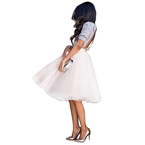 WEISIPU Women's 6 Layer Short A Line Elastic Waistband Tutu Tulle Prom Princess Midi Dance Skirt (White, L)