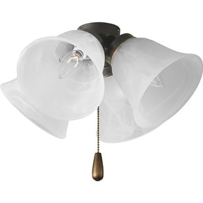 Progress Lighting P2643-20 4-Light Universal Fan Light Kit, Antique Bronze