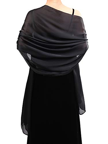 Boao Women Satin Scarves Long Shawl Wrap Light Soft Sheer Scarf for Wedding Party Everyday Accessory (Black)
