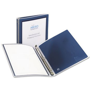 Averyamp;reg; Flexi-View Round-Ring Presentation Binder, 1/2in Capacity, Navy Blue