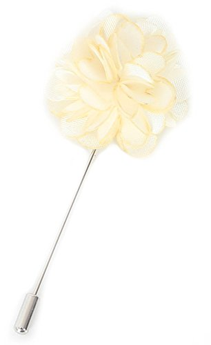Flairs New York Gentleman's Essentials Premium Handmade Flower Lapel Pin Boutonniere (Pack of 1 Pin, Pearl White [Camellia]) ()