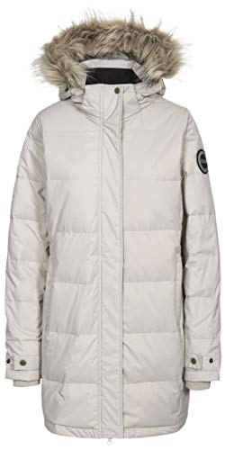 Trespass Women's Ophelia Warm Waterproof Down Jacket with Removable Hood Stone