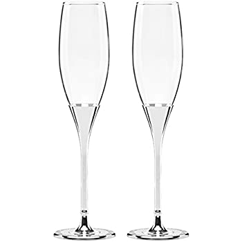 3e001860c8f Kate Spade New York Simply Sparkling Silver Champagne Toasting Flute Pair,  Crystal and Silver-