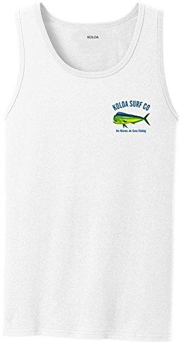 Joe's USA Koloa Surf Mahi Mahi Logo Heavyweight Cotton Tank Top-White/c-2XL - White Logo Tank