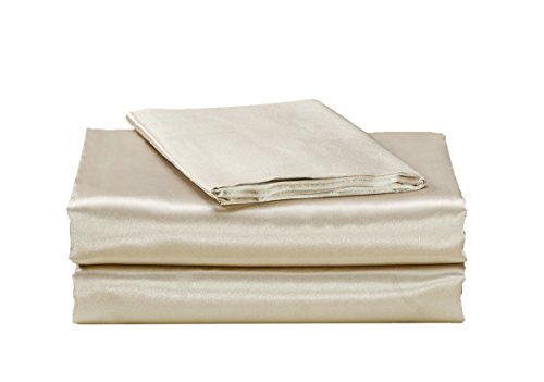 EliteHomeProducts EHP Super Soft and Silky Satin Sheet Set (Solid/Deep Pocket) (Queen, - Satin Ivory Sheet