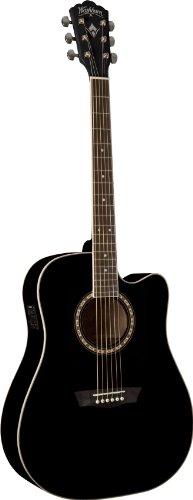 Washburn USM-WD10CEB Apprentice Series Acoustic Electric Guitar, (Washburn Black Guitar)