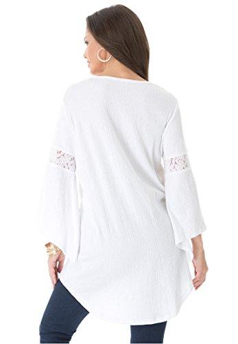 Roamans Women's Plus Size Gauze Lace Tunic