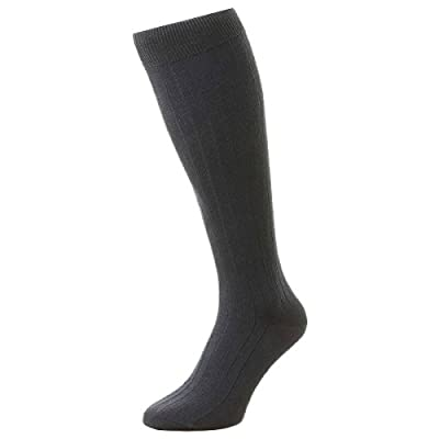 Cheap Navy Pembrey Sea Island Cotton Over the Calf Socks by Pantherella hot sale