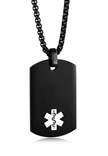JF.MED IP Black-Plated Stainless Steel Medical Alert ID Pendant Necklace for Men & Women 20 inch,Free Engraving