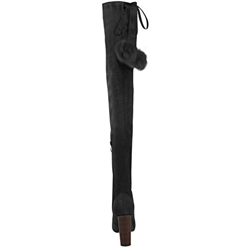 Thigh Pom Suede Size Stretch Black Knee Over Boots Faux Heels The Womens High Fashion High Thirsty Pom awxqWEfzH