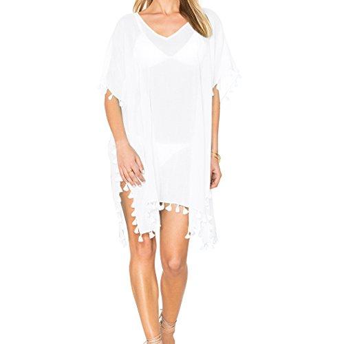 Spiaggia Bikini bianco Stile Donna Copricostumi 4 sciolto V SiDiOU Oversized collo Group aYpCwC