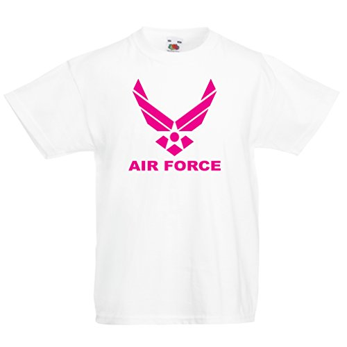 (Kids Boys/Girls T-Shirt United States Air Force (USAF) - U. S. Army, USA Armed Forces (3-4 Years White Magenta))