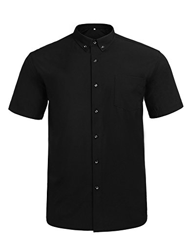 Jeopace Dress Shirts for Men,Short Sleeve,Button Down,Big and Tall,Stretch (Black, XL/195)