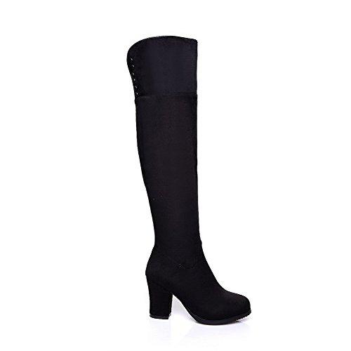 Toe Boots Allhqfashion Black Blend Women's High Top Closed buckle Materials 0q0HYvp
