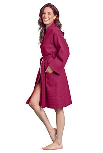 1fdd99517 Soft Touch Linen Women's Waffle Robe. Knee Length, Lightweight, Absorbent  (XX-Large, Wine Red)