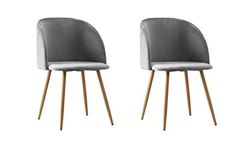 2 Piece Mid Century Modern Velvet Armless Minimalist Accent Dinning Chair (Light Grey)