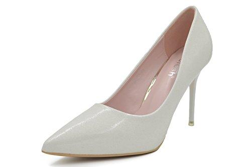 Pointed Toe Very High Heels (Melesh Wedding Dress Bridal Glassy High Heels Pointed Toe Pumps Shoes (7 B(M) US - EU38, White))