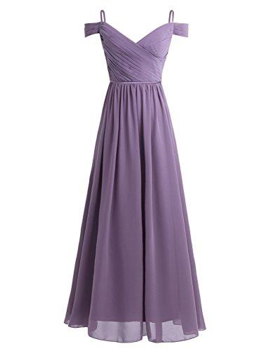 (YiZYiF Women's Chiffon Bridesmaid Dress Off Shoulder Pleated V-Neck Evening Prom Gown Dress Dusty Purple 4)