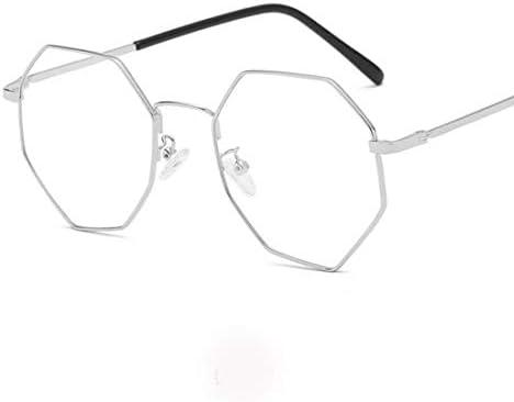 H54eru1z ファッション眼鏡の精神は、ユニセックス、非処方眼鏡フレームをフレーム 6awa23z (Color : Silver)