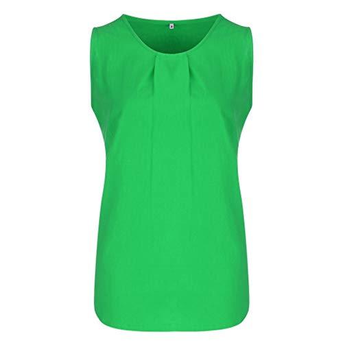 IAMCOOL 2019 Blouses for Women Fashion, Women Sleeveless Cotton Fashion Vest Short T Shirt Ladies Blouse Green ()