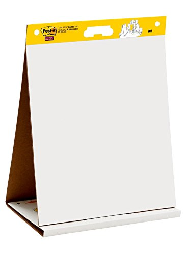 Post-it Super Sticky Tabletop Easel Pad, 20 x 23 Inches, 20 Sheets/Pad, 1 Pad (563R), Portable White Premium Self Stick Flip Chart Paper, Built-in Easel Stand by Post-it