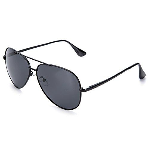 YJMILL New Polarized Sunglasses Retro Pilots Riding Fishing Golf Travel Sports Sunglasses Men And Women 8037 (black-grey, - Vue De Lunette