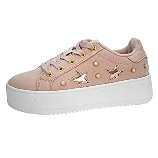 LUCKY STEP Women Platform Chunky Hologram Sneakers - Students Street High Heel Casual Tennis Suede Shoes