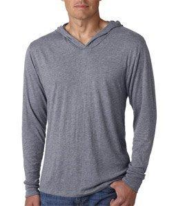 Next Level 6021 Tri-Blend Long Sleeve Hoody - Premium Heather - - Long Hooded Shirt