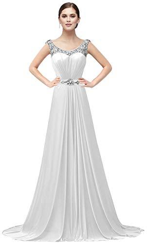 VaniaDress Women Elegnat Rhinestone Bridesmaid Evening Dress Prom Gown V004LF White US16 from VaniaDress
