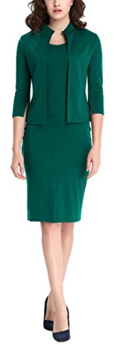 Women's Green Vintage 2 Pieces 3/4 Sleeve Wear to Work Party Bodycon Dress 3XL