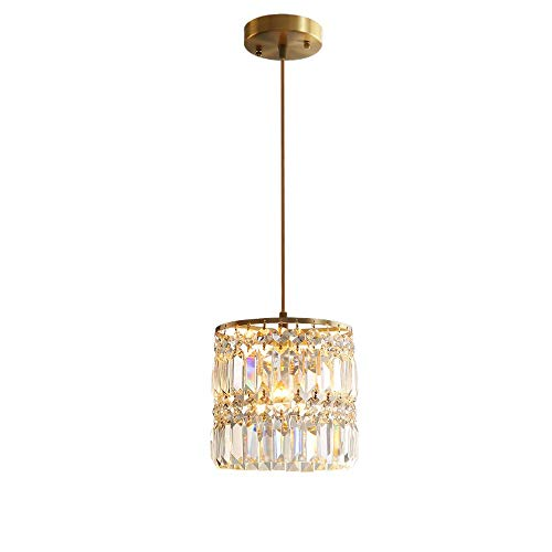Crystal Pendant Lighting Modern Chandelier 1-Light Gold Ceiling Fixture Hanging Lamp for Kitchen Living Room Bedroom Dining Room Foyer
