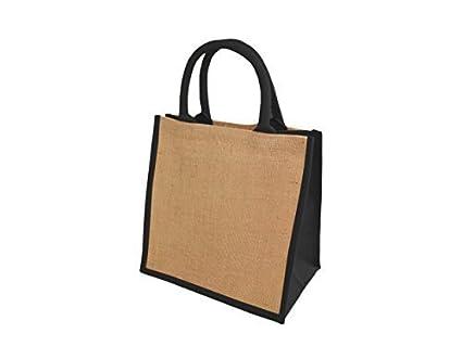 3e39ce737e8 Jute Hessian Medium Deluxe (M3B) BLACK Trim Shopping Bag  Amazon.co ...