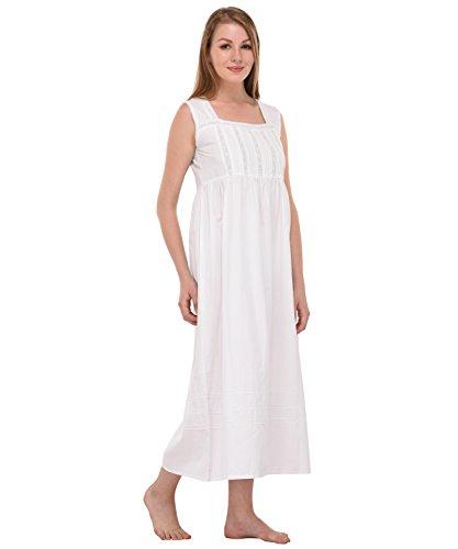 Camicia da notte in cotone bianco Vintage Cotton Lane Reproduction Plus Size N80-WT. Taglie italiane dalla 40 alla 70