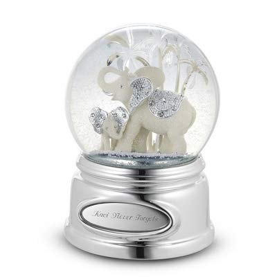 Things Remembered Personalized Elephant and Calf Musical Snow Globe with Engraving Included