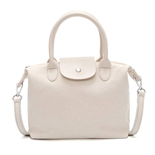aimdonr mujer Tote Big Negro Canvas Bag Size bolso Tote cartera Blanco Mujeres Vintage hombro 6qT6wUAof