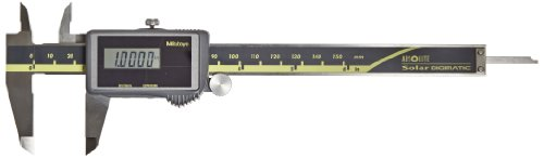 Mitutoyo 500-474 Digital Calipers, Solar Powered, Inch/Metric, for Inside, Outside and Step Measurements, Stainless Steel, 0