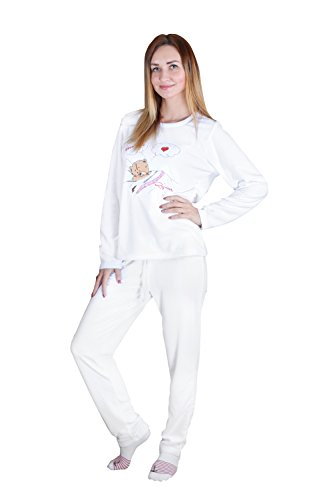 Pajama Sleepwear Set For Women By Rejawece – Long Sleeve Set (Large, White)
