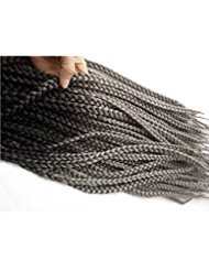 22inch 5packs/lot Black to Dark Grey 2Tone Ombre Color 3s Box Braids Synthetic Crochet Braiding Hair Extensions (black dark grey)