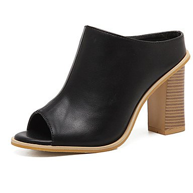 pwne Sandalias De Mujer Zapatos Club Pu Ropa De Verano Chunky Talón 3In-3 Negro 3/4En Negro Us6 / Ue36 / Uk4 / Cn36 US6.5-7 / EU37 / UK4.5-5 / CN37