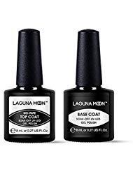 Lagunamoon Gel Nail Polish Soak Off UV LED Gel Base Coat and No Wipe Top Coat Gel Polish Set-8ml