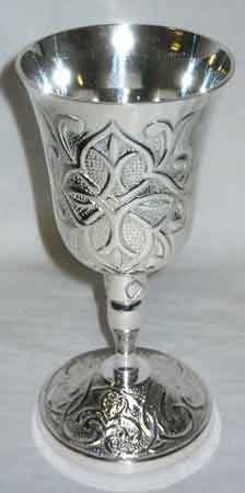 Ancient Celtic Silver Chalice 7""