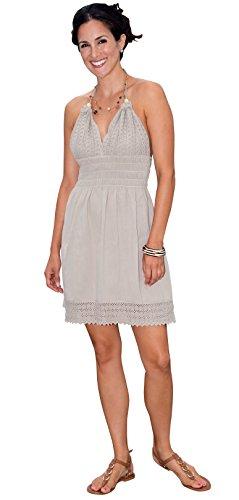Cotton Natural Halter Dress Embroidery Casual Summer Fashion Beachwear White (Large, Beige) (Summer Beachwear)
