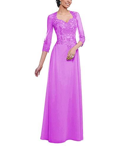 tutu.vivi Women's Lace Appliques Mother of The Bride Dress Long Sleeves Chiffon Formal Prom Dress Lilac Size22W