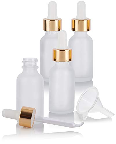 1 oz Frosted Clear Glass Boston Round Bottle with Gold Metal and Glass Dropper (4 pack) + Funnel for Essential oils, Aromatherapy, E-liquid, Food grade, BPA free