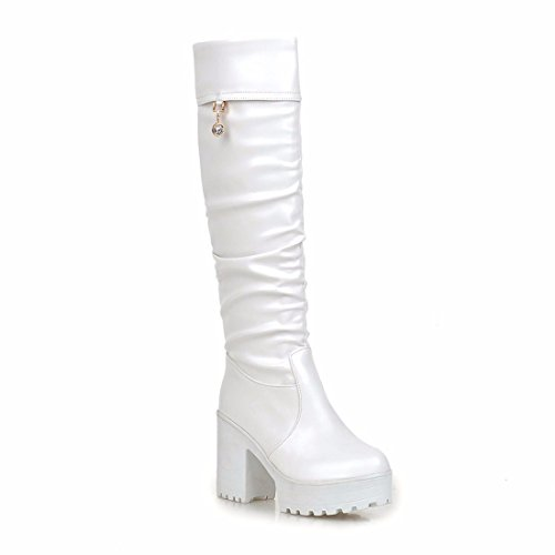 RFF-Women's Shoes Winter and autumn high boots, waterproof platform, female smooth face, PU boots, Martin boots White
