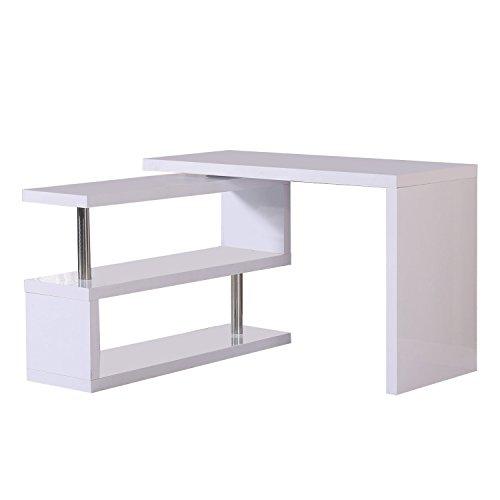 HomCom Rotating Office Desk and Shelf Combo - White by HOMCOM