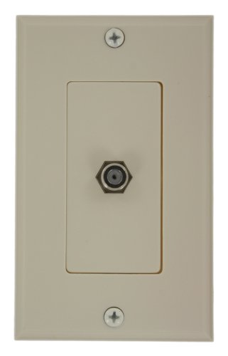 Leviton 40981-TD Decora Video Wall Jack Assembly, F Connector, Light - Plate Almond Connector