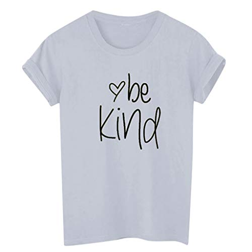 Sunhusing Ladies Letter Be Kind Print Short Sleeve T-Shirt Solid Color Round Neck Top Tee Gray