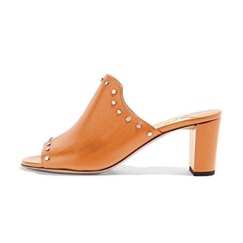 Fsj Vrouwen Peep Toe Muilezels Dikke Hakken Sandalen Met Studs Ongedwongen Slip Op Zomerse Schoenen Maat 4-15 Ons Oranje
